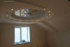 гипсокаптон потолок + натяжной светильники точки