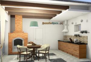 Летняя кухня, дизайн интерьера